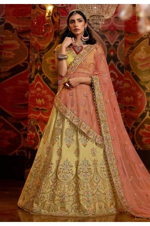 Yellow raw silk circular lehenga choli 5180