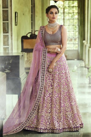 Mouve color net Indian wedding lehenga