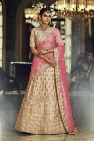Chickoo and pink satin silk Indian wedding lehenga