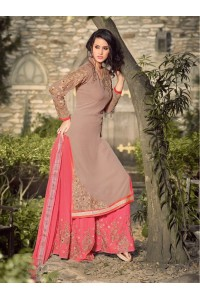 Beige and pink georgette party wear palazzo kameez