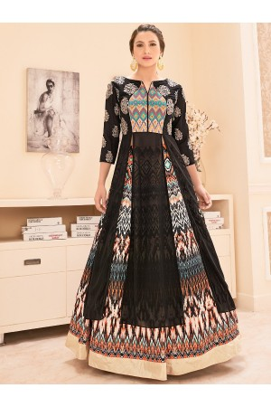 Gauhar khan black color georgette and bangalori silk lehenga kameez