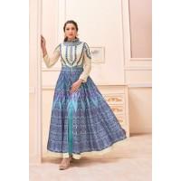 Gauhar khan blue and white color party wear salwar kameez