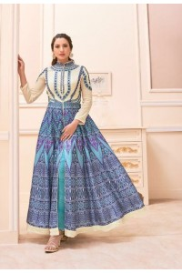 Gauhar khan blue and white color party wear salwar kameez