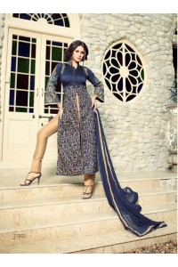 Navy blue and beige tapeta silk party wear anarkali suit