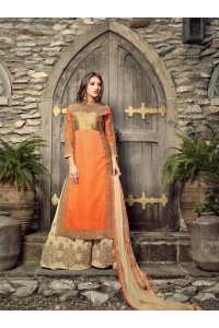 Orange and cream georgette party wear palazzo  kameez
