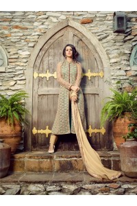 Pista green and beige  net and tapeta silk party wear suit