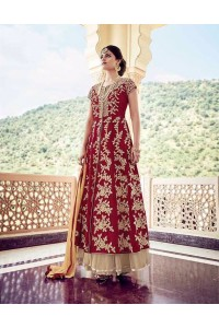 Red faux georgette and net party wear lehenga kameez