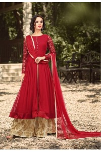 Red color georgette party wear palazzo kameez