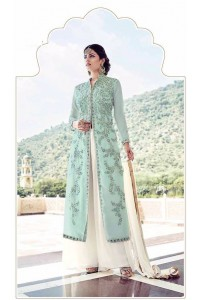 Sky blue and white faux georgette palazzo kameez