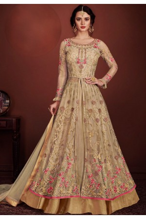 beige net embroidered floor length lehenga style anarkali suit 8147