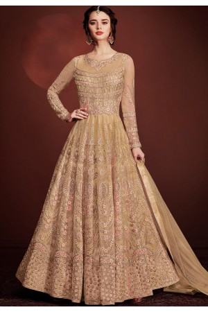 beige net long embroidered anarkali suit 8145