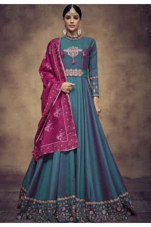 blue tapeta and satin silk embroidered readymade anarkali gown 39013
