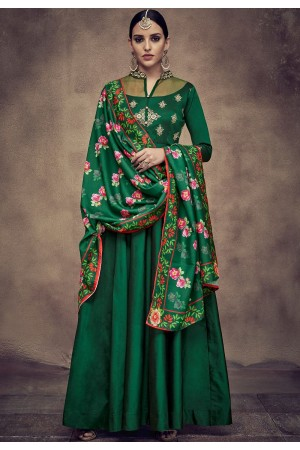 dark green tapeta and satin silk embroidered readymade anarkali gown 39014