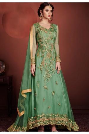 green net embroidered designer long anarkali suit 8146
