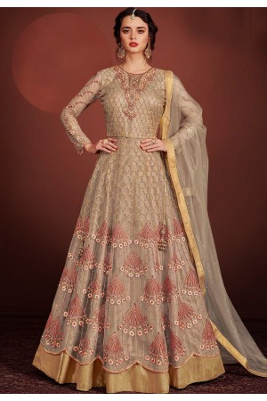 grey net embroidered lehenga style anarkali suit 8150