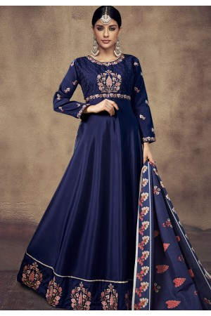 navy blue tapeta and satin silk embroidered readymade anarkali gown 39015