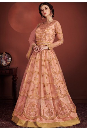 peach net embroidered lehenga style anarkali suit 8149