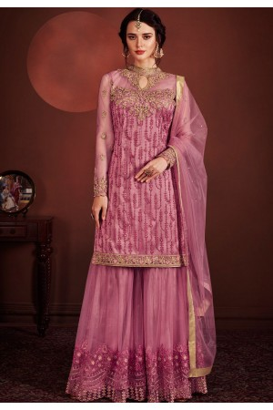 pink net embroidered sharara style pakistani suit 8148