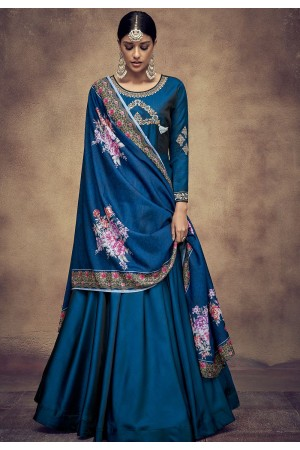 royal blue tapeta and satin silk embroidered readymade anarkali gown 39018