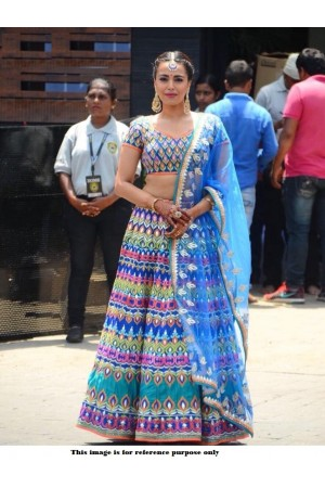 Bollywood Model Blue Banglori silk designer lehenga