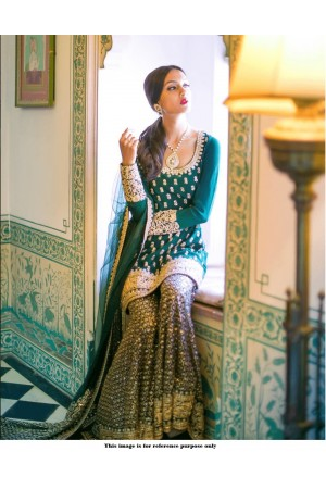 Bollywood Sabyasachi Inspired Green silk  Wedding Sharara suit