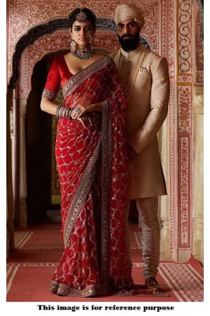 Bollywood Sabyasachi Mukherjee Inspired Red georgette silk saree