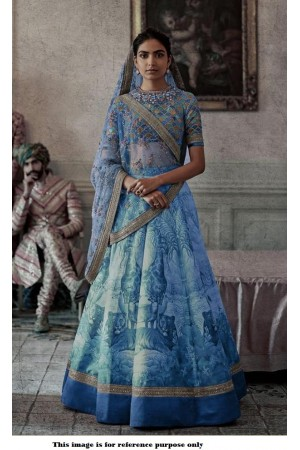Bollywood Sabyasachi Inspired Digital blue silk wedding lehenga