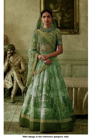 Bollywood Sabyasachi Inspired Digital green silk wedding lehenga