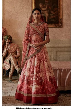 Bollywood Sabyasachi Mukherjee Inspired Digital Red silk wedding lehenga