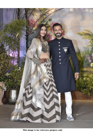 Bollywood Sonam Kapoor Banglori silk brown reception lehenga
