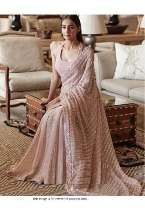 Bollywood model light pink georgette sequins saree