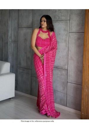 Bollywood model Rani pink double sequins saree