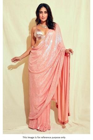 Bollywood kareena Kapoor Inspired Light pink sequins saree