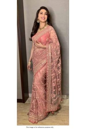 Bollywood Madhuri Dixit Pink net saree