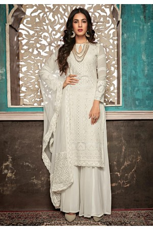 Sonal chauhan off white georgette embroidered palazzo suit 7406