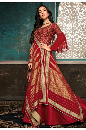 Sonal chauhan red silk embroidered bollywood anarkali suit with frill sleeve 7401