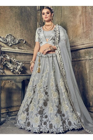Grey banarasi wedding lehenga choli