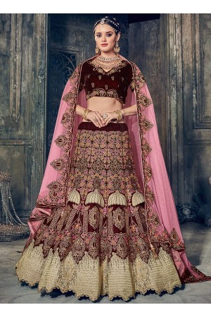 Maroon color velvet wedding lehenga choli