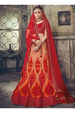 Orange and red pure satin wedding lehenga choli