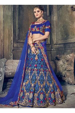 Royal blue net wedding lehenga choli