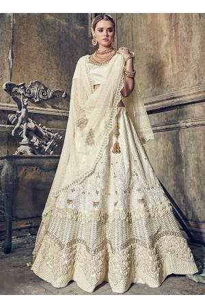 Cream color pure satin wedding lehenga choli