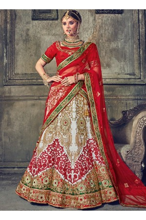 White and red Australian silk wedding lehenga choli