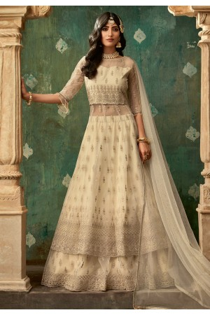 Beige net embroidered indo western lehenga choli 78004