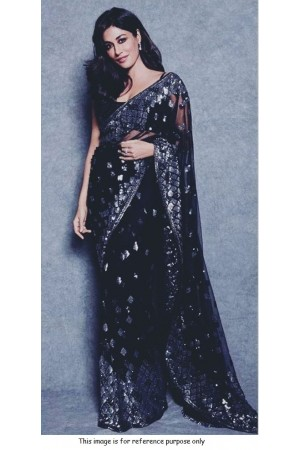Bollywood chitrangada singh inspired black net sequins saree