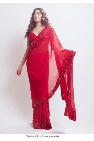 Bollywood Jahnvi  Kapoor inspired red georgette saree