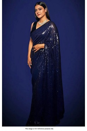Bollywood Sabyasachi Inspired Kajol Navy blue sequins saree