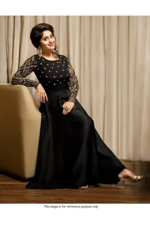 Bollywood model black tafetta silk gown