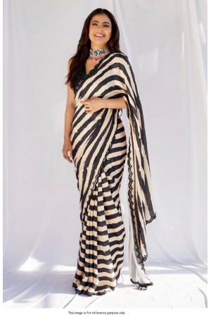 Bollywood Kajol inspired georgette zebra print saree