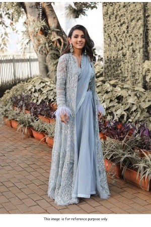 Bollywood model blue georgette embroidery saree