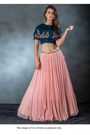 Bollywood peach crop top Lehenga